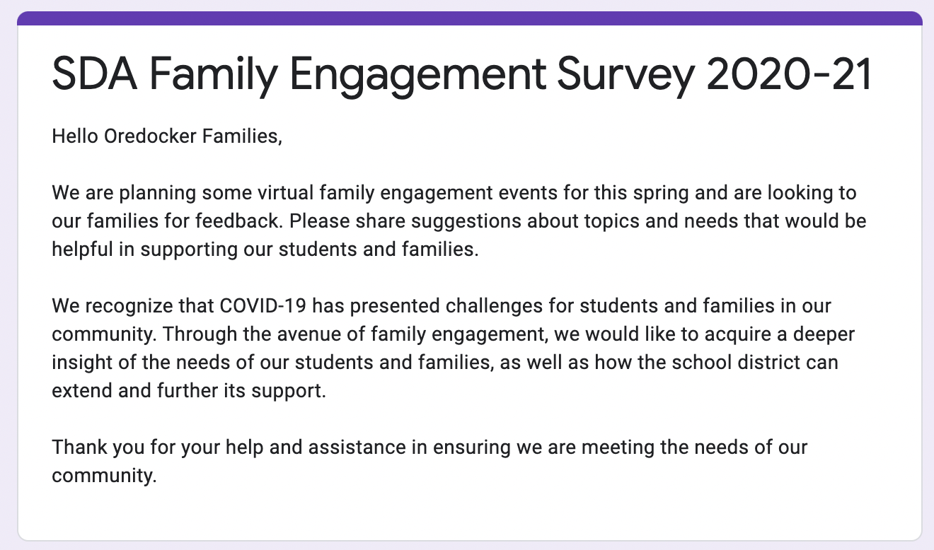 SDA Family Engagement Survey 20/21
